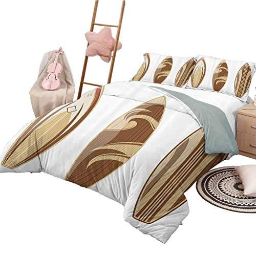 Juego de colcha de colcha Colección de decoración de tablas de surf Juego de funda nórdica para niños Tablas de surf de madera Color de madera aventurero Diseño clásico natural Crema de Perú Tan tamañ