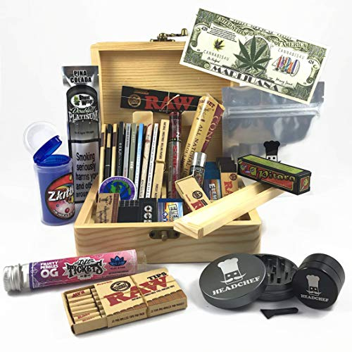 BIGSMOKESUPPLIES High Roller Headchef Smoking Box Gift Set - Big Smokers Only Hamper Kit - Big Smoke Himself Uses These - RAW ELEMENT LIFT TICKETS GRINDER GLASS TIPS NOVELTY NOTE POP TOPS