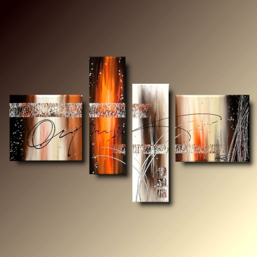 ART MMB 'Solaris - 4 Quadri Moderni Astratto Colori Arancione Marrone BEIG Bianco Nero Dipinto A Mano su Tela Gia' INTELAIATO