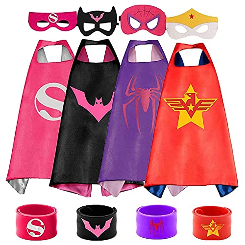 HUIHAI Capas de Superhéroe para Niños,4 Capa,4 Máscaras,4 Pulsera de Silicona,Disfraces Infantiles para Cosplay de Fiesta de cumpleaños de Navidad,Los Mejores Regalos,Víspera de Todos los Santos