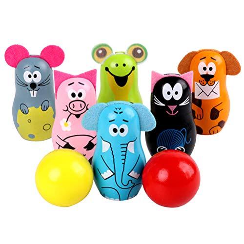 STOBOK Holz Bowlingkugeln Cartoon Tiere Bowling Set Spielzeug s für Jungen und Mädchen