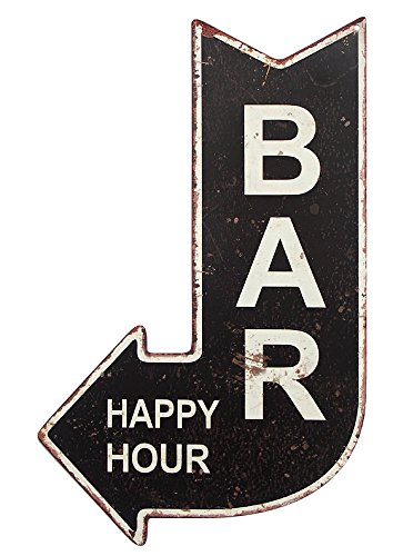 zeitzone Blechschild BAR Happy Hour Wegweiser Vintage 40x25cm