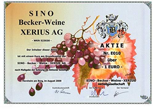 DAS GESCHENK: Aktie der SINO BECKER-WEINE XERIUS aus Herxheim am Berg/Pfalz