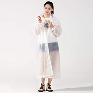 SWQG-pans Durable EVA Raincoat, Hooded Poncho with Sleeves, Reusable Waterproof Portable Foldable Rainwear Suitable for Ca...