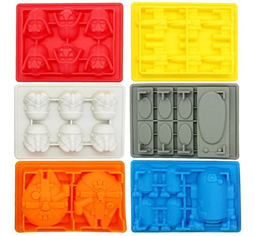 iNeibo kitchen Star Wars Eiswürfelform – 6 verschiedene Formen im Set - 100% Lebensmittelsilikon- BPA frei- FDA-zugelassenen- für Eiswürfel, Schokolade, Süßigkeiten, Götterspeise- 30 Tage rückgaberecht und 1 Jahre Garantie