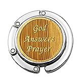 Grtdrm Bamboo Style Premium Foldable Handbag Bag Purse Hanger Table Hook Holder (God Answers Prayer)