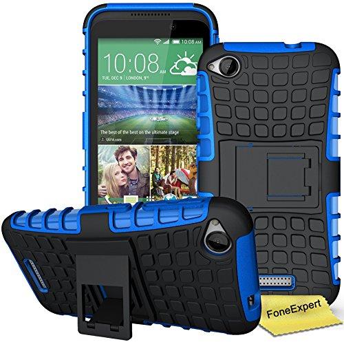 HTC Desire 320 Handy Tasche, FoneExpert® Hülle Abdeckung Cover schutzhülle Tough Strong Rugged Shock Proof Heavy Duty Hülle für HTC Desire 320 + Bildschirmschutzfolie (Blau)