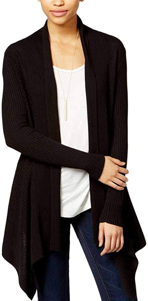 Bar III Women's Waterfall Cardigan Sweater (Black, XXS)