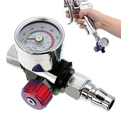 """Riloer Luftdruckregler, 1/4""""BSP Mini Air Gun Manometer Druckluftwerkzeug für Spritzpistolen und Druckluftwerkzeuge mit Düse, rot"""