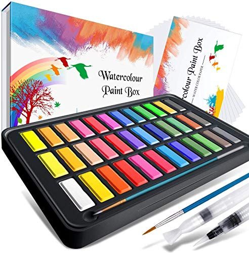 Aquarellfarben Set , RATEL Aquarell Malkasten Inklusive 36 Farben Festes Pigment + 2 Hookline-Stifte + 2 Wassertankpinsel + 10 Aquarellpapiere - wasserlöslich und gut mischbar Aquarell-Farben-Set