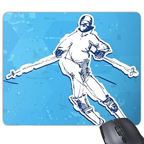 Winter Sport Snowboarden Contes Blauw en Wit Aquarel Illustratie Rechthoek Antislip Rubber Mousepad Game Mouse Pad
