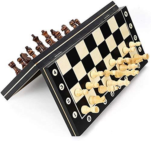 MWKLW Juego de ajedrez de Madera Staunton Chess, Piezas de Tablero de Juego de Viaje de Almacenamiento Interior Plegable de Calidad para Fiestas, Actividades Familiares para Todas Las Edades, 29 cm