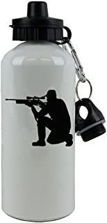 Personalized Custom Deer Hunting Aluminum White Finish 20 Ounce 600ML Sport Water Bottle Customizable