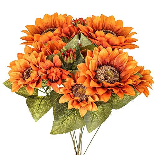 Ramo de Flores de Girasoles Artificiales Cotemdery, arreglos de Girasol Vintage Falsos para decoración de Cocina del hogar, Amarillo Vintage