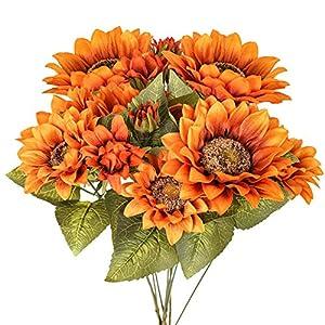 Silk Flower Arrangements Luyue Artificial Sunflowers Bouquet Fake Vintage Sunflower Autumn Flower for Decoration,9 Floral Heads Faux Flowers Bunch for Home Decor-Vintage Yellow