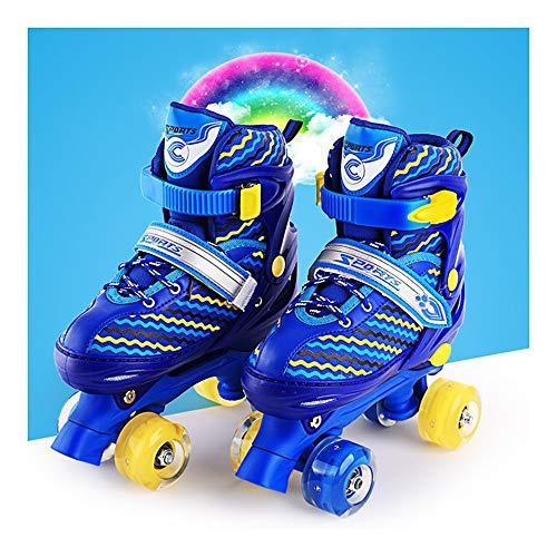Ice-Beauty-ukzy Kids Quad Roller Skate, Roller Skates Adjustable for Kids,Fun Illuminating for Girls and Ladies for Kids Best Giftsblue-M (33~37)