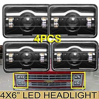 4PCS 4X6 LED Headlights DRL for Chevy Pick Up Trucks C10 C20 K10 K30 K5 Blazer Suburban  1981 to 1987  Sealed Beam High Low H4651 H4642 H4652 H4656 H4666 H4668 H6545 Conversion Kit