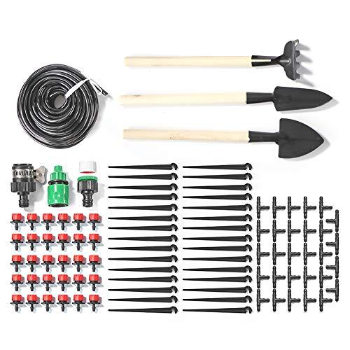 LinHut Kit de riego por goteo - Sistema de riego por goteo ajustable para jardín, sistema de riego por goteo para plantas de invernadero, parterres, patios y césped.