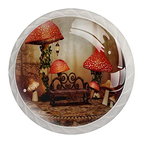 Perillas para cajones Vidrio redondo de cristal Tiradores de armario, 4 piezas,grandes setas rojas y un banco de madera