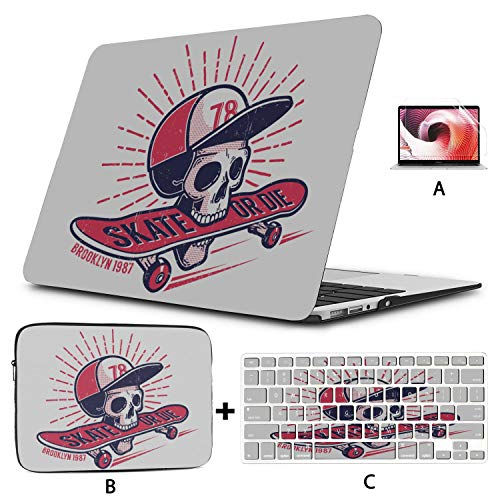 Mac Air Cover Cool Youth Skateboarding Authentic Retro Street MacBook Laptop Cover Hard Shell Mac Air 11'/13' Pro 13'/15'/16' with Notebook Sleeve Bag for MacBook 2008-2020 Version
