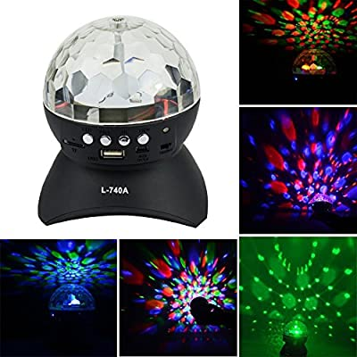 IVIDZ Mini Disco DJ Stage Lighting LED RGB Crystal Rotating Special Effects Lighting, Aux Input TF Card Music Player and Wireless Bluetooth Speaker for ?KTV, Christmas Parties, Party, Weddings, Clubs, Bars, Disco, DJ?