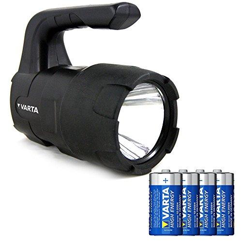Varta - Linterna Indestructible 3 Watt LED, 150 Lumens, 350m de Alcance,  4x C...