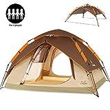 ZOMAKE Instantanée Pop Up Tente de Camping 3 Personnes, Automatique Imperméable à l'eau Tente pour la Pêche à l'extérieur de Randonnée Pédestre (220 * 220 * 140cm) Brun
