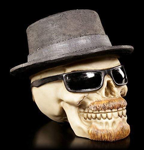 Totenkopf Figur mit Bart, Hut und Sonnenbrille | Badass klein | Deko Schädel