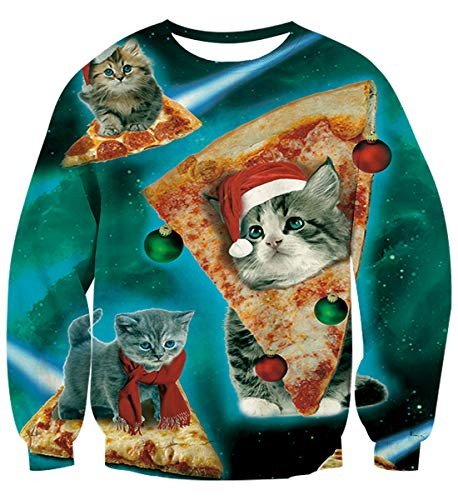 Unisex Plus Size Ugly Christmas Sweatshirt Outdoor Pullover Party Xmas Sweater 3D Pizza Cat Pattern Crewneck Tops Shirt for Girt XXXL