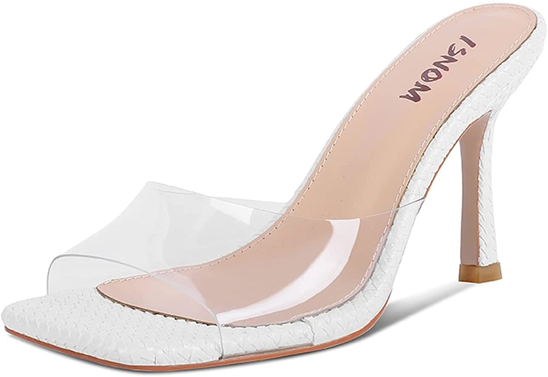 ISNOM Women's Slides Sandals High Shoes Heels Colorado Springs Mall Weave Transparent Over item handling