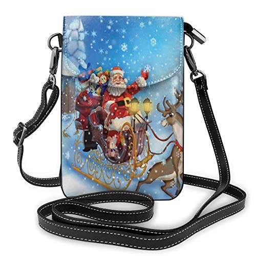 Women Small Cell Phone Purse Crossbody,Santa In Sleigh With Reindeer And Toys In Snowy North Pole Tale Fantasy Image