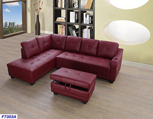 Beverly Fine Funiture Sectional Sofa Set, Burgundy