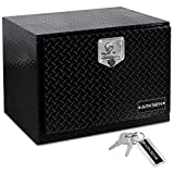ARKSEN 24 Inch Durable Aluminum Diamond Plate Tool Box Pickup Truck ATV Durable Underbody Trailer Storage Lock W/Key, Black