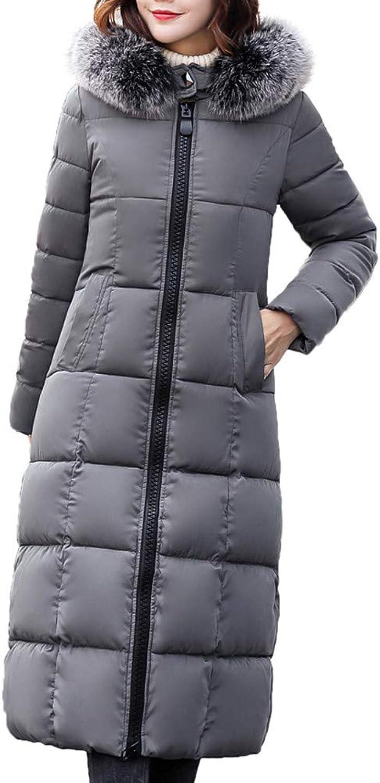 GridNN Women's Winter LongSleeved Down Hooded Fur Collar Cotton Long Coat