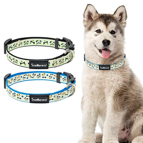SCENEREAL 2 Pack Cute Dog Collars for Small Medium Dogs, Puppy Dog Collar Glow-in-The-Dark