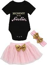 Fartido Romper Baby Girl Letter Print Romper Tutu Skirt Headband Set Outfits