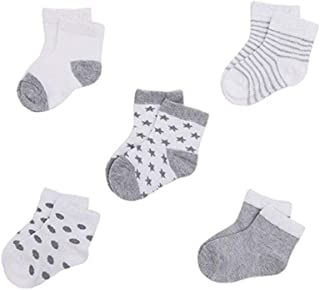 Nicedier, Nicedier 5pairs bebé recién Nacido algodón orgánico Calcetines Suaves Respirables de los Calcetines del Tobillo de Suelo para bebés y niños pequeños 0-12months