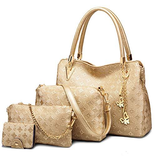 FiveloveTwo Damen Umhängetasche Schultertasche Henkeltaschen Quaste Drucken Handtasche 4-teiliges Set Geldbörse Shopper Taschen Clutches Kartenhalter Brieftasche Gold