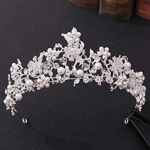 Ownlife Tocadores de Moda de Moda Flor Tiara Rhinestone Crystal Pearl Crown Wedding Tiara Princess Party Diadema Accesorios (Color : Silver)