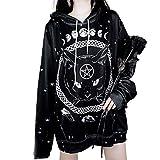 Otoño e Invierno Nueva Ropa de Mujer, Europea y Americana Calle Gótica Estampado Gótico Suéter con Capucha Negro Negro ( S