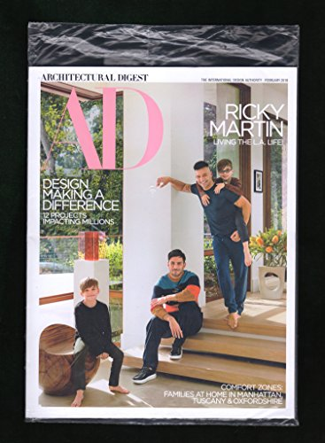 Architectural Digest Magazine (February, 2018) Ricky Martin Cover