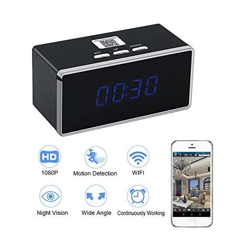 Camara EspiaWIFI Despertador HD 1080P TANGMI Cámara de Niñera P2P Inalámbrica Cámara de Seguridad Detección de Movimiento Grabador de Video Vigilancia 140°Ángulo de Visión Amplio