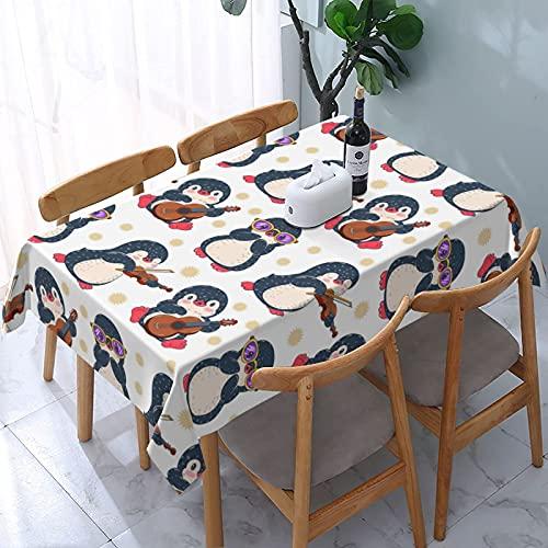 XIANGYANG Simpatici Pinguini Rettangolo Tovaglia 54 X 72 Impermeabile Lavabile Riutilizzabile Tovaglia Tovaglia per Sala da Pranzo Cucina Picnic Home Decor