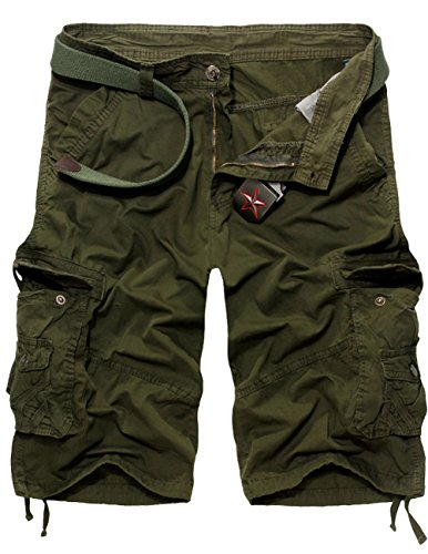 Menschwear Mens Cotton Cargo Shorts Multi Pockets Relaxed Fit with Belt (36,Army-Green)