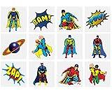 KINPARTY ® - 84 x Tatuajes Temporales SUPERHEROES - Diseños Surtidos para Niñas/Niños. Tatuajes para regalos o detalles de cumpleaños, fiestas, celebraciones, relleno de piñatas, regalos sorpresa