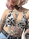 Women Summer Crop Tops, Milk Cow Print V-Neck Sleeveless Sling Vest with Metal Ring for Girls, Black White (Black White , One Size )