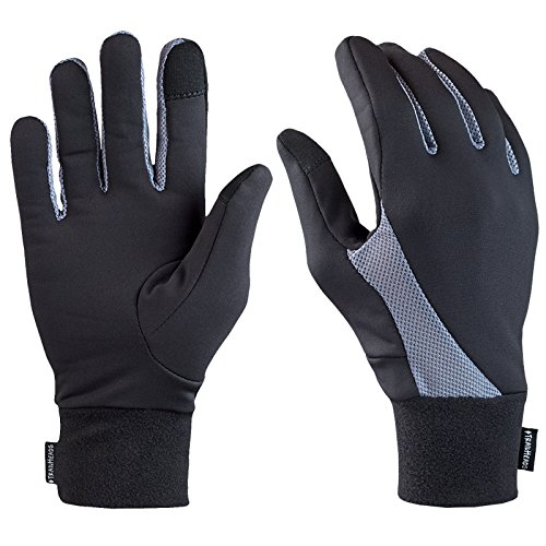 TrailHeads Running Gloves | Lightweight Gloves with Touchscreen Fingers - Black/Grey (Medium)