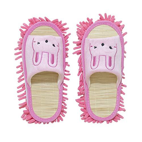 KCCCC Zapatillas de trapeador 2 Pares Zapatillas Tibias Pisos Dust Suciedad Cabello Mop Zapatillas Zapatos Antideslizantes Inicio Zapatillas de Limpieza de Piso (Color : Pink, Size : Medium)