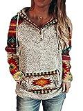 Women Western Aztec Print V Neck Sweatshirt Western Ethnic Print Loose Casual Hoodie for Women (White, M)