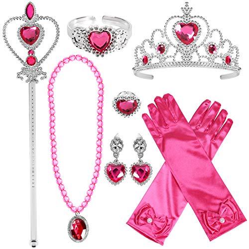Tacobear Prinzessin Kostüm Zubehör Set Prinzessin Krone Zauberstab Handschuhe Ohrring Halskette Armband Ring Prinzessin Schmuck für Kinder Mädchen (Rose-Prinzessin Anna)